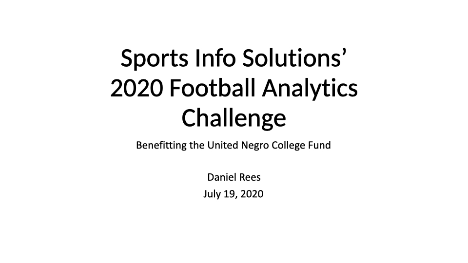2020 Football Analytics Challenge